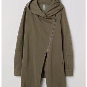 H&M Divided olive green hooded jacket zip up L